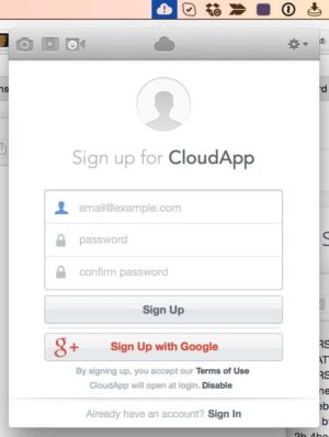 SignUp CloudApp from UIGarage