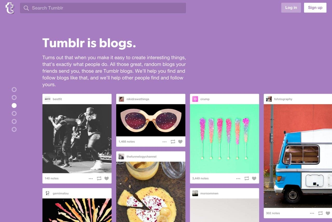 Landing page Tumblr from UIGarage