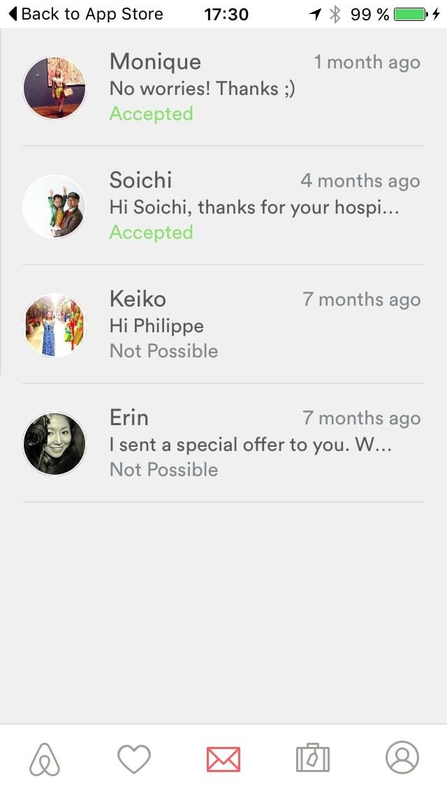 Inspiration Message List Screen Airbnb Ui Inspiration Interface