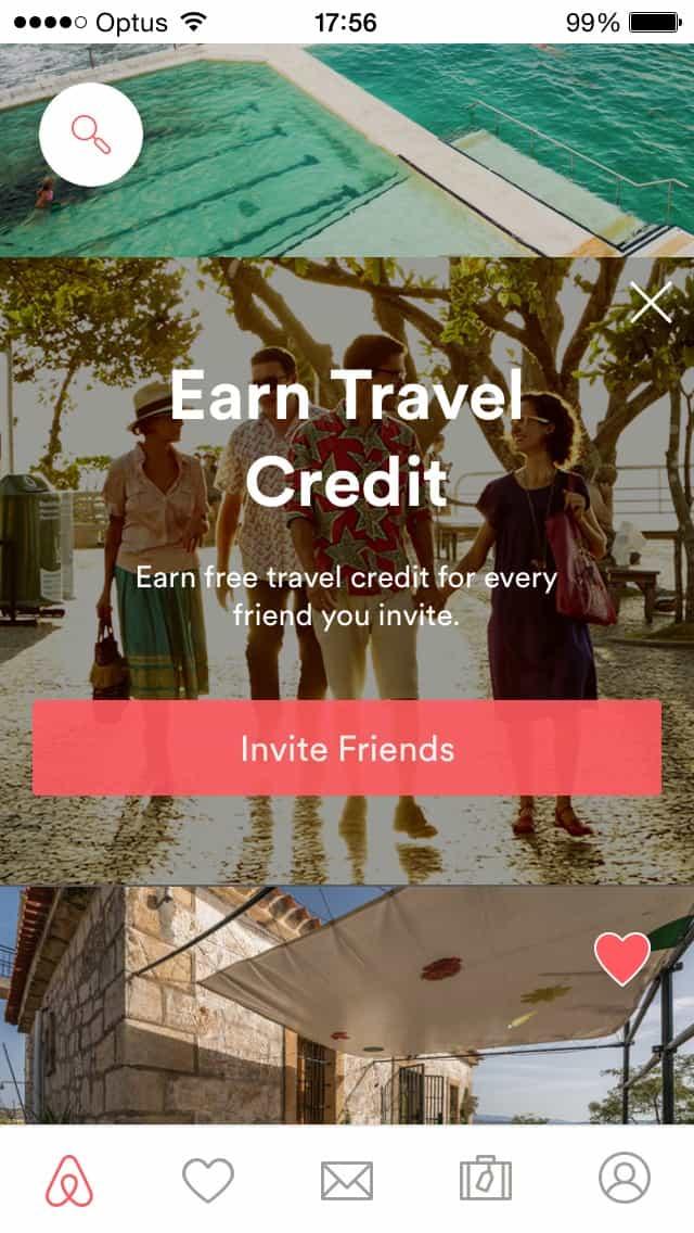 Ad screen invite friends @airbnb #ui #inspiration #interface #ios #design #iphone Advertising iOS  - UI Garage - The database of UI