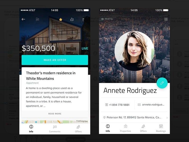 Profile screen #ui #inspiration #interface #ios #design #iphone https://dribbble.com/shots/2349550-Detail-of-Property-Profile iOS Profile  - UI Garage - The database of UI