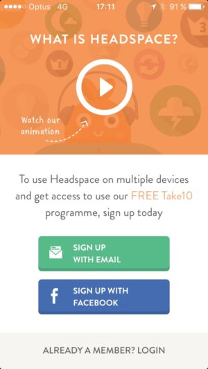 Signup @get_headspace #ui #inspiration #interface #ios #design from UIGarage