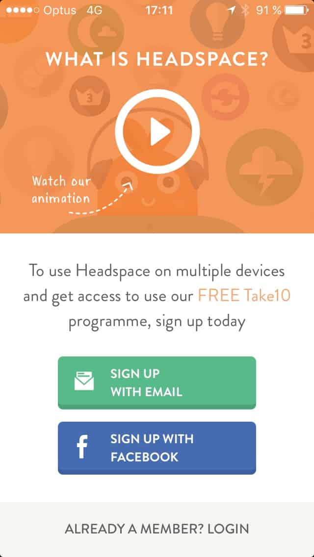 Signup @get_headspace #ui #inspiration #interface #ios #design iOS Signup  - UI Garage - The database of UI