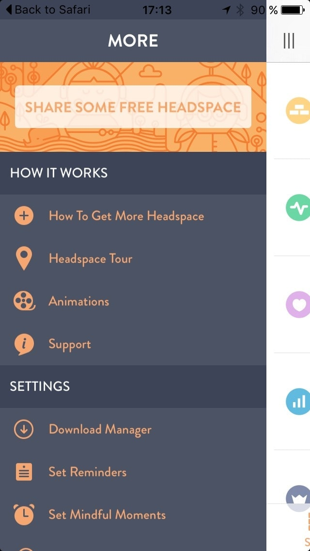 Menu @get_headspace #ui #inspiration #interface #ios #design iOS Menu  - UI Garage - The database of UI