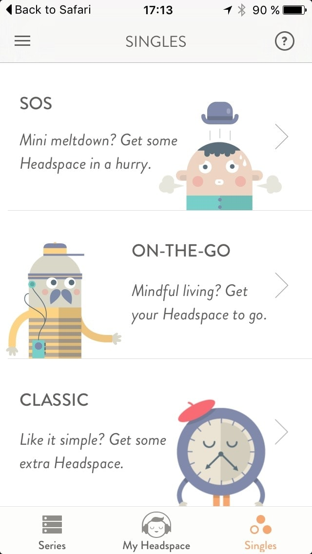 Content view @get_headspace #ui #inspiration #interface #ios #design All Content Screen iOS List  - UI Garage - The database of UI