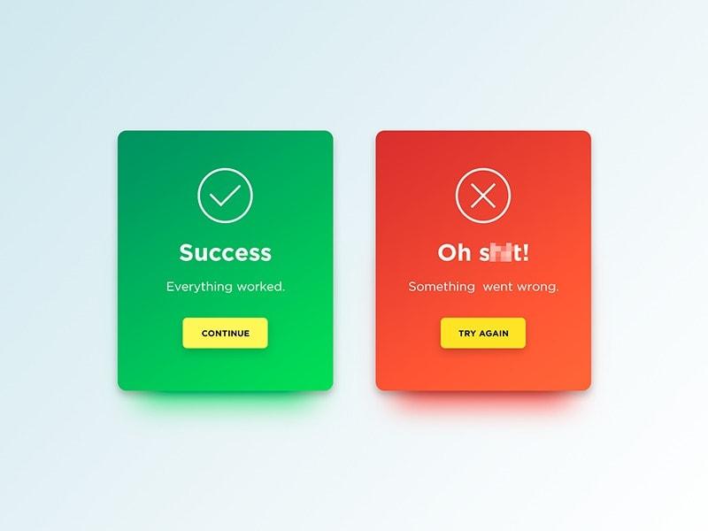 Congrats & error messages by Denis Abdullin #ui #inspiration #interface #web #design Cards Congrats Error Messages Web  - UI Garage - The database of UI