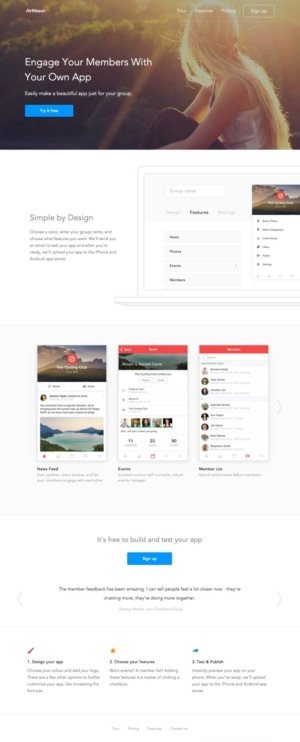 Landing page by @dawsonwhitfield #ui #inspiration #interface #ios #design from UIGarage