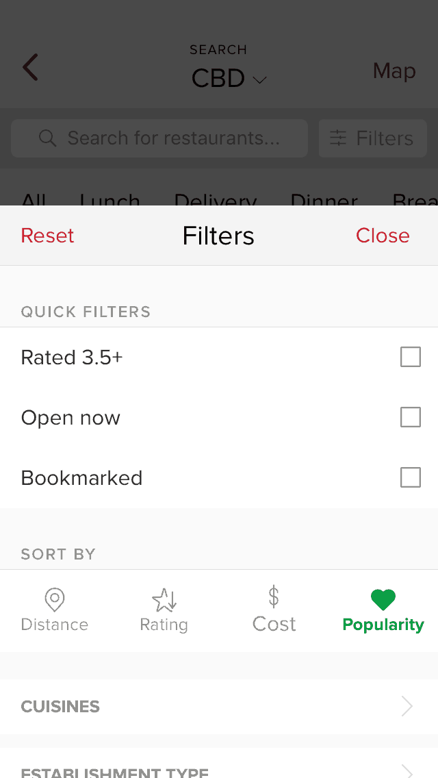 Filters Menu by @zomato #ui #inspiration #interface #ios #design #iphone Checkbox Dropdown Filters iOS Radio Buttons  - UI Garage - The database of UI