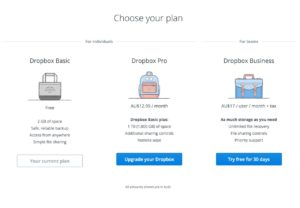Pricing view @dropbox #ui #inspiration #interface #web #design from UIGarage