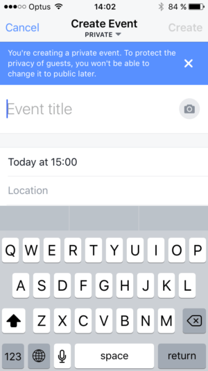 Warning when creating event @facebook #ui #inspiration #interface #ios #design #iphone from UIGarage