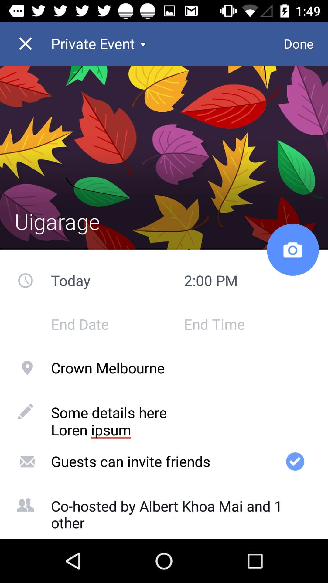 Inspiration Create event page on Android by Facebook - UI Garage