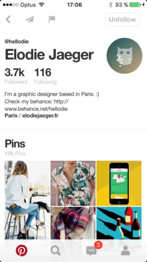Profile by @pinterest #ui #inspiration #interface #ios #design from UIGarage