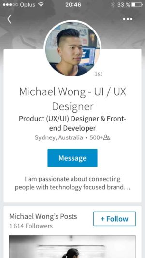 Profile page @linkedin #ui #inspiration #interface #ios #design from UIGarage