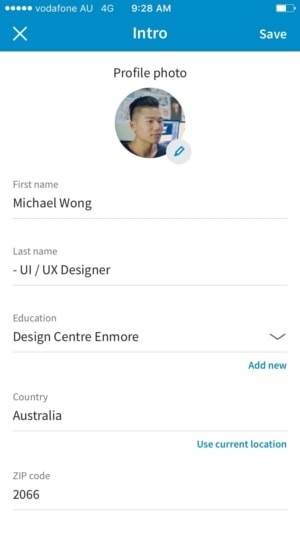 Editing profile on @linkedin #editing #profile #ios #iphone from UIGarage