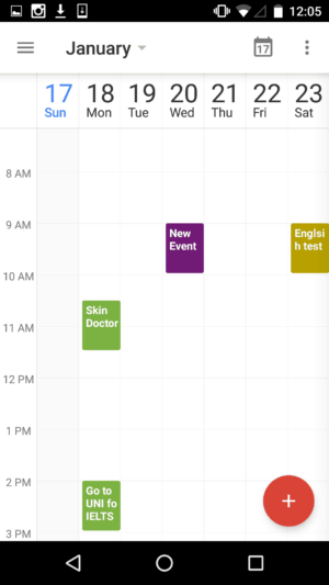 1 week view on Google Calendar #ui #inspiration #interface #materialdesign #design #android from UIGarage