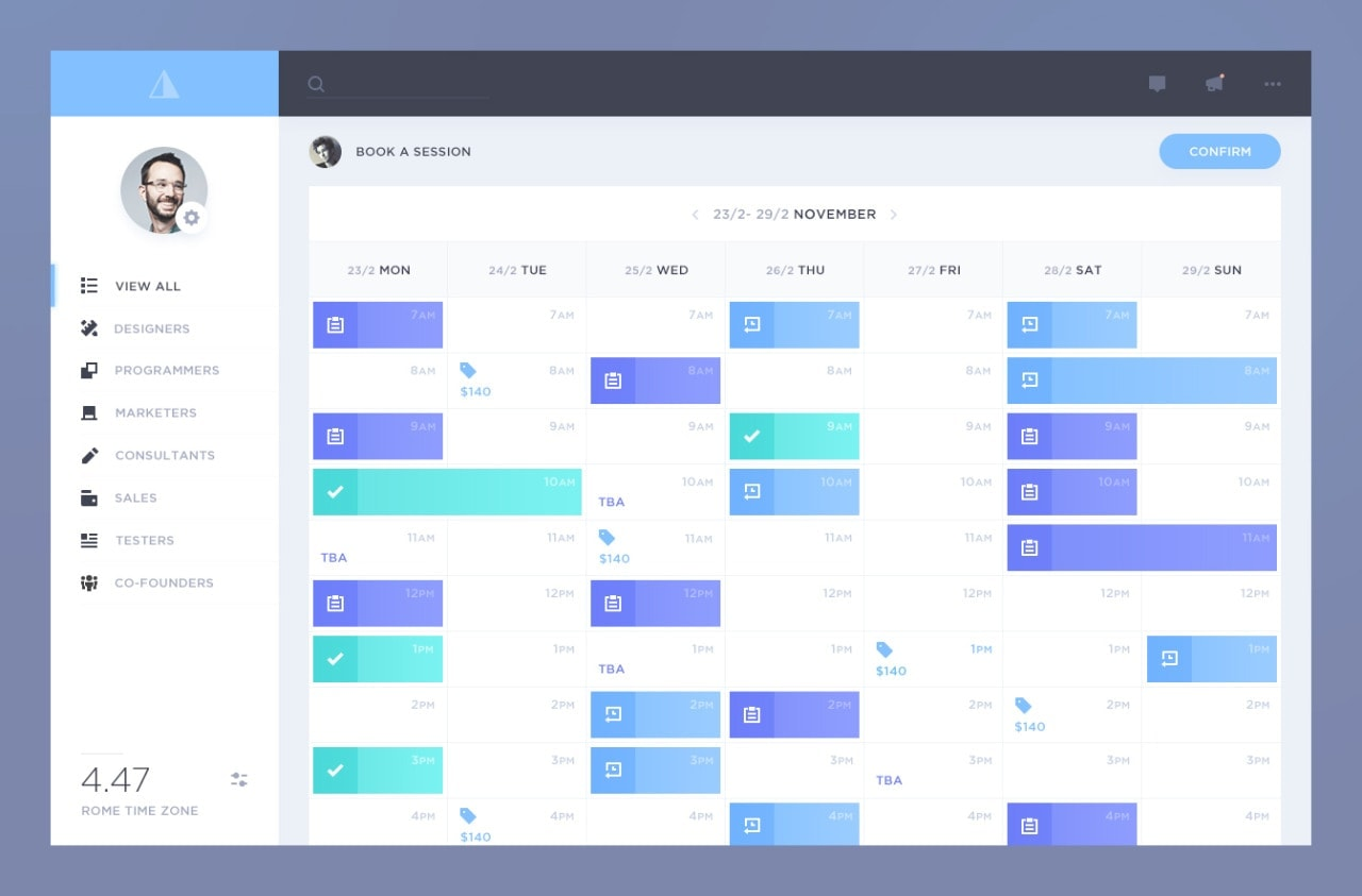 Weekly Calendar Ui : Calendar by davidepacilio ui inspiration interface
