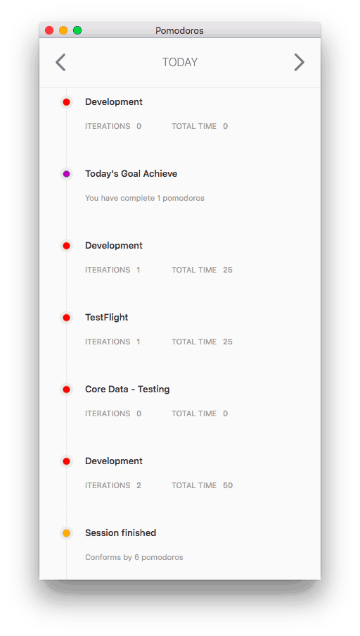 Inside this window you can check your daily or past activity in a timeline way. @PomodoroTimeManager  by : @fitomad Mac Timeline  - UI Garage - The database of UI