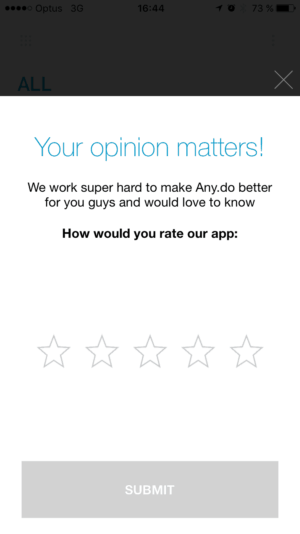 Rating on Anydo #ui #inspiration #interface #ios #design #iphone from UIGarage