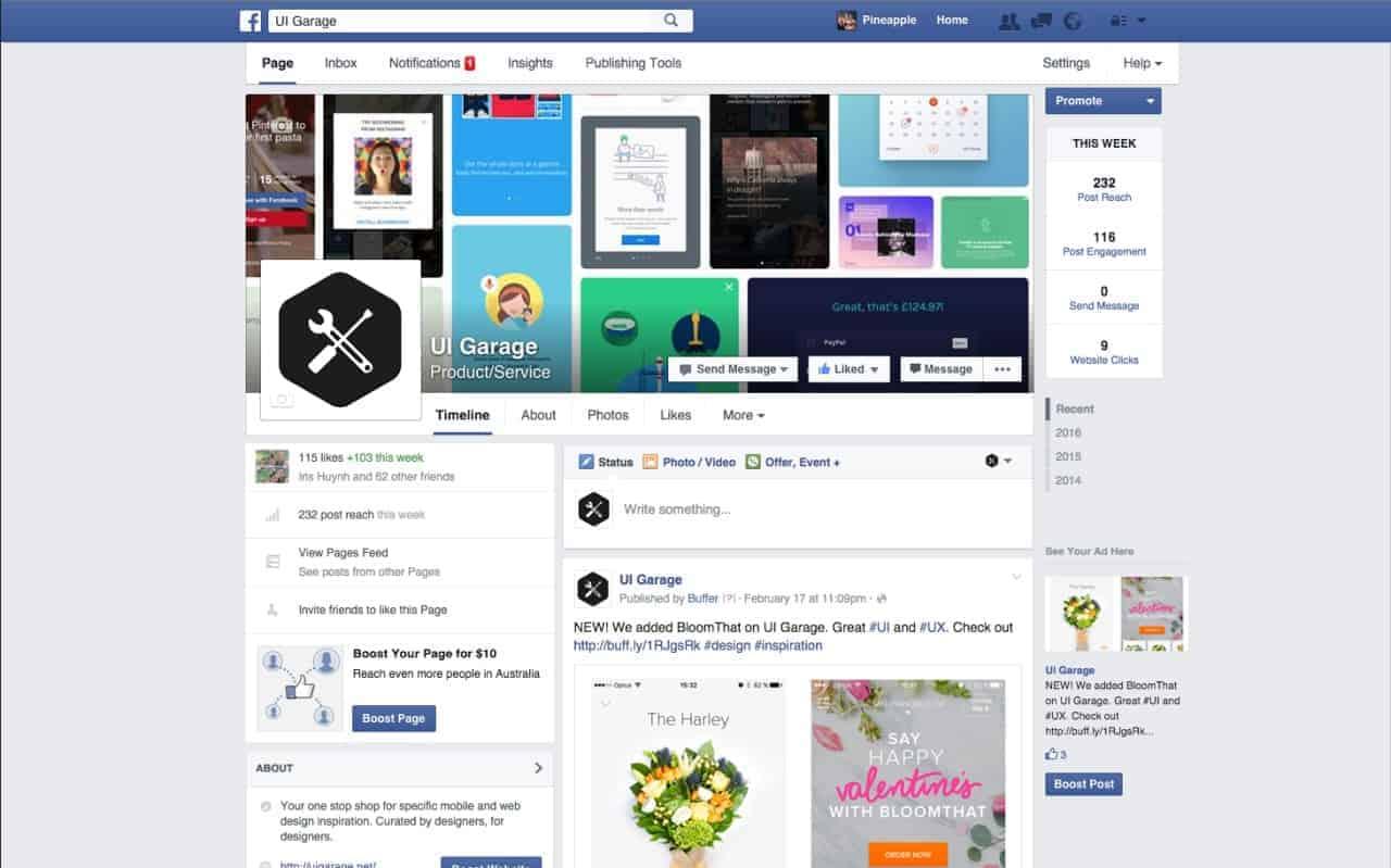 Facebook Company Page Web Profile Daily Ui Design