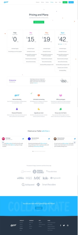 Awesome pricing page by Marvel #ui #inspiration #interface #web #design from UIGarage