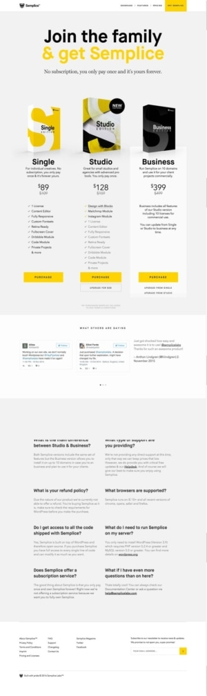 Pricing on Semplice #ui #inspiration #interface #web #design from UIGarage