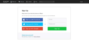 Signup at 500px #ui #inspiration #interface #web #design from UIGarage