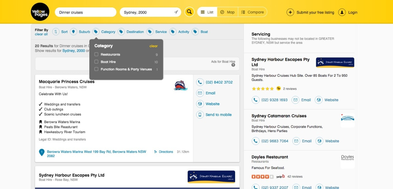Directory filters by @yellowpages #web #filters Filters Web  - UI Garage - The database of UI