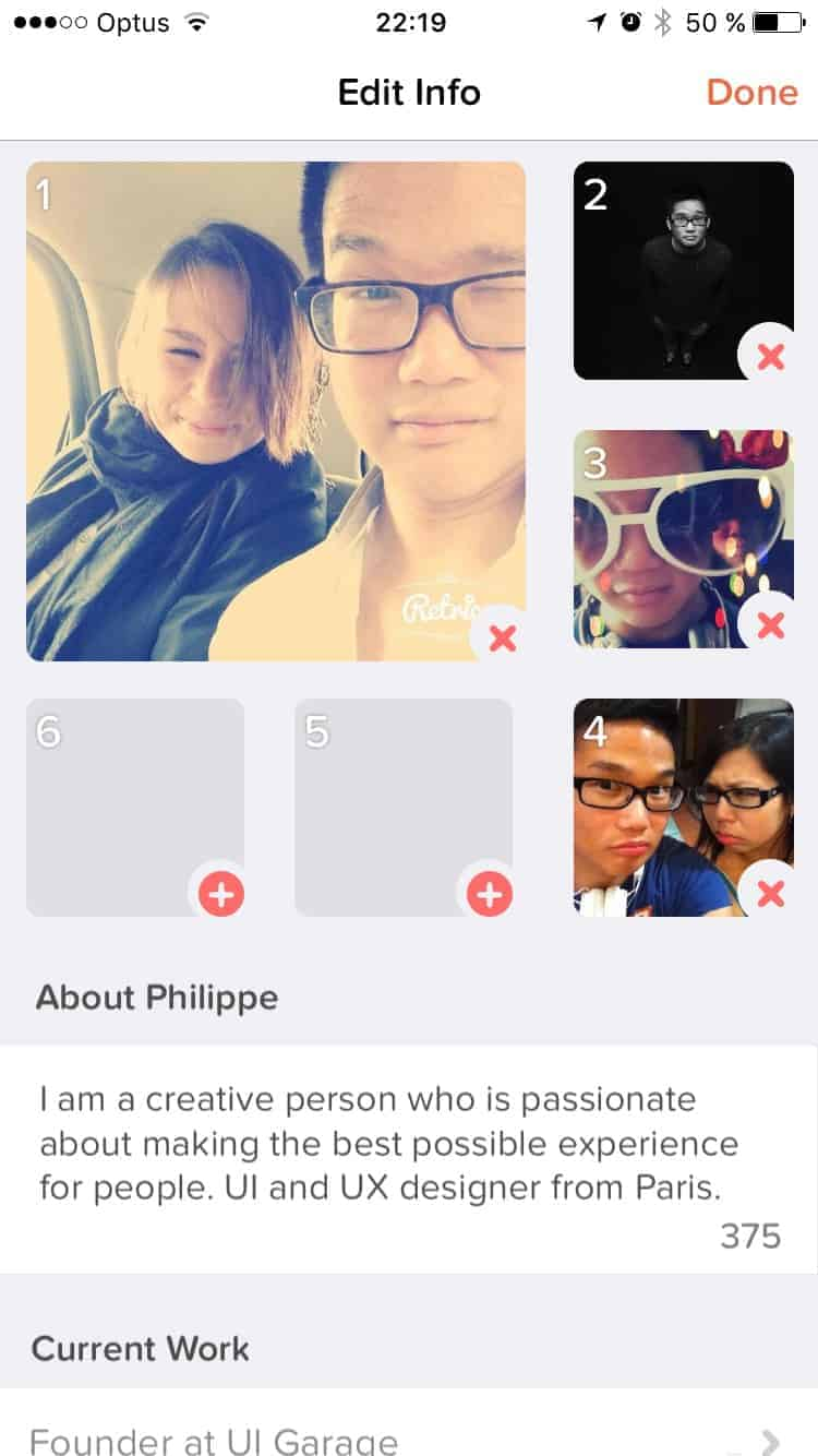 Editing on Tinder #ui #inspiration #interface #ios #design #iphone from UIGarage