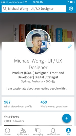 LinkedIn iOS app tab bar #ios #tab #inspiration from UIGarage