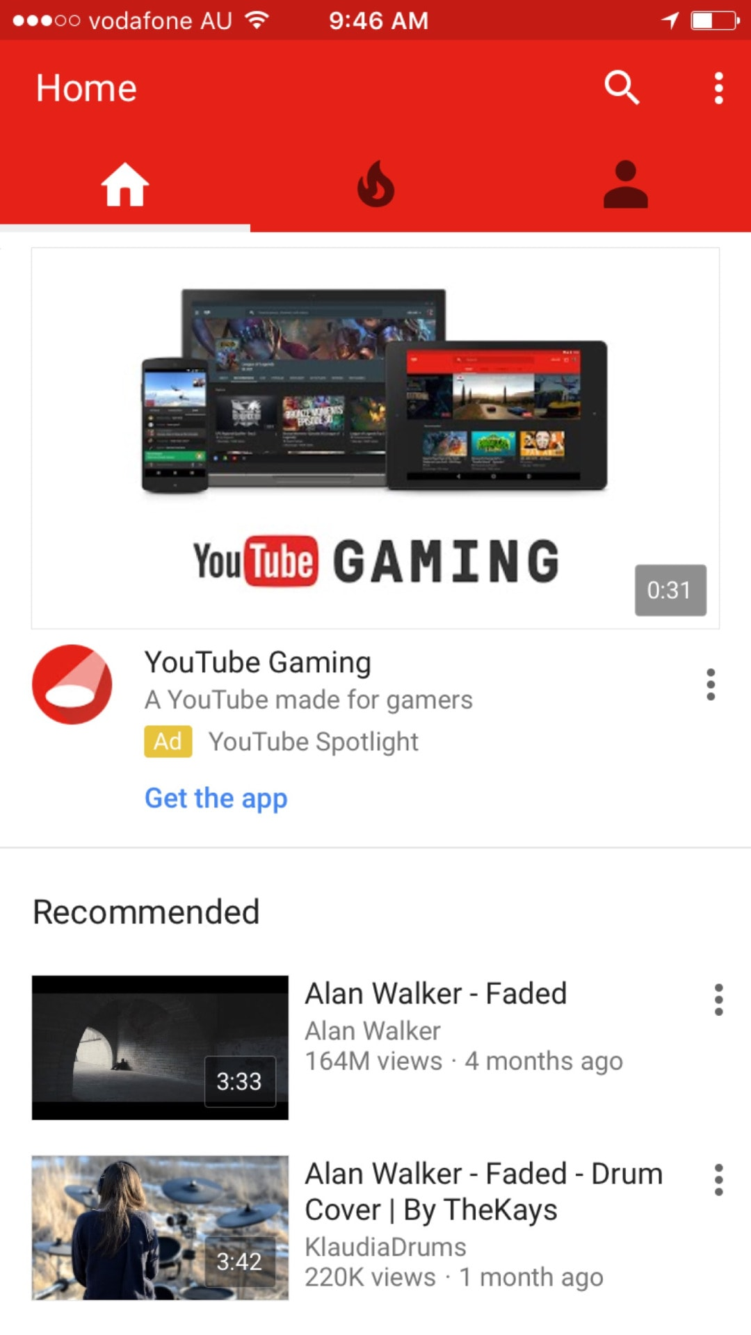 Youtube Ios App Tab Bar Found At The Top Daily Ui