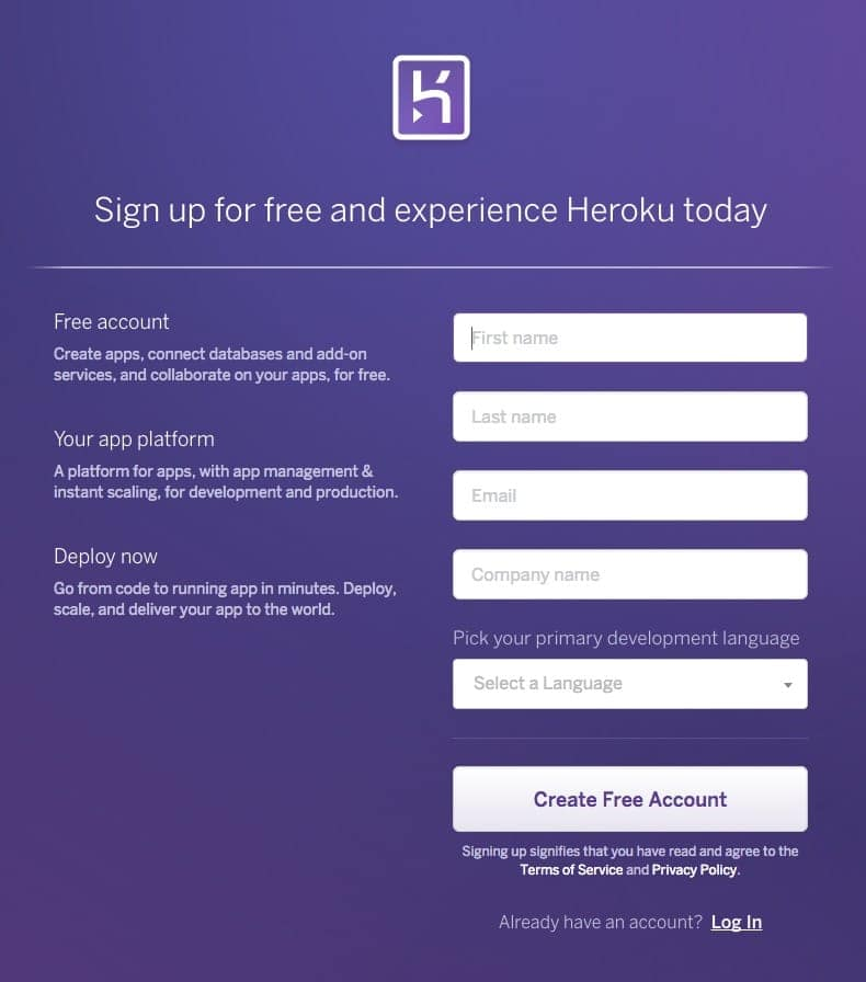 Signup on Heroku web #ui #inspiration #interface #web #design