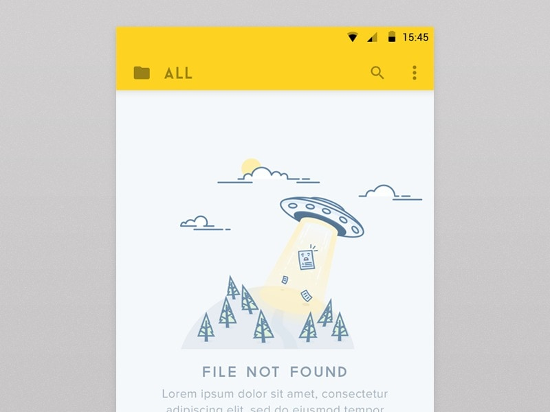 Simple, illustrated 404 screen on Android.