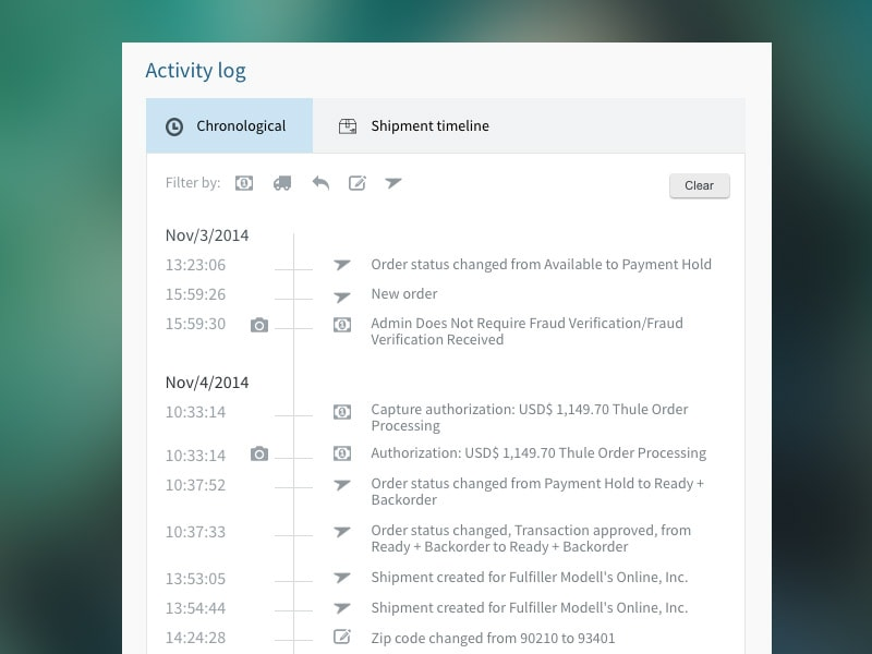 Activity log by Jeff Hoffman, web #ui #inspiration #interface #web #design from UIGarage
