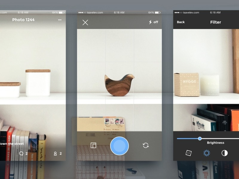 Camera app design by isavelevcom on dribbble daily ui for Garage design app