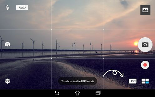 Landscape camera view for Android.