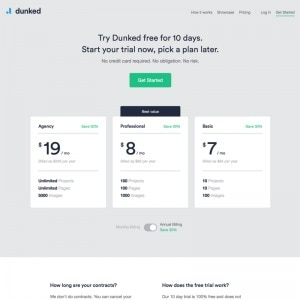 Pricing page on Dunked web #ui #inspiration #interface #web #design from UIGarage