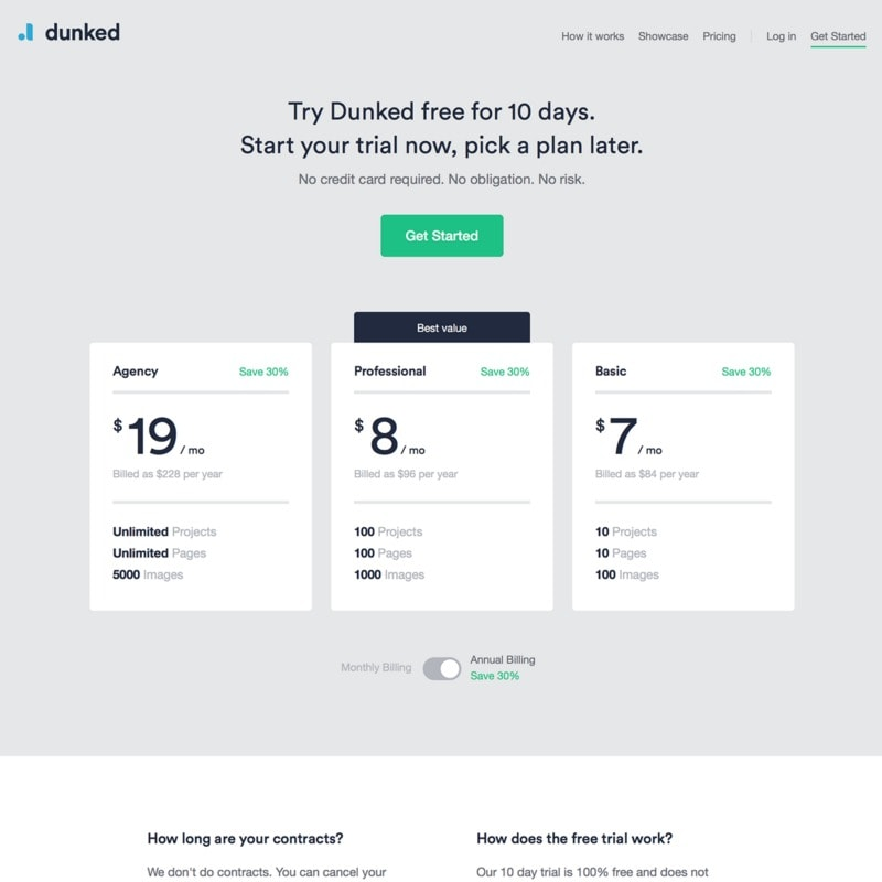 Pricing page on Dunked web #ui #inspiration #interface #web #design
