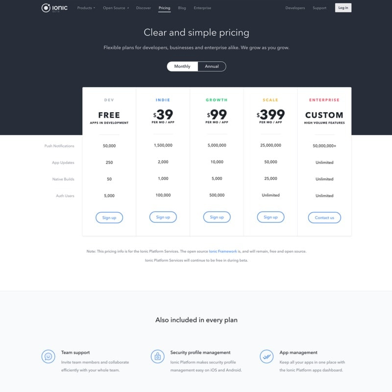 Pricing page on ionic web #ui #inspiration #interface #web #design