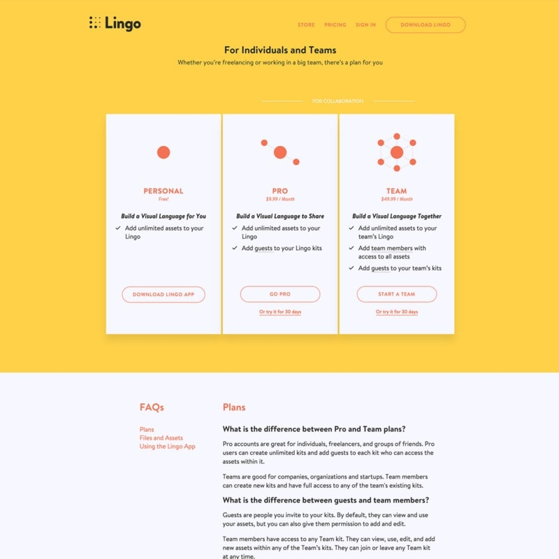 Pricing page on Lingo web #ui #inspiration #interface #web #design