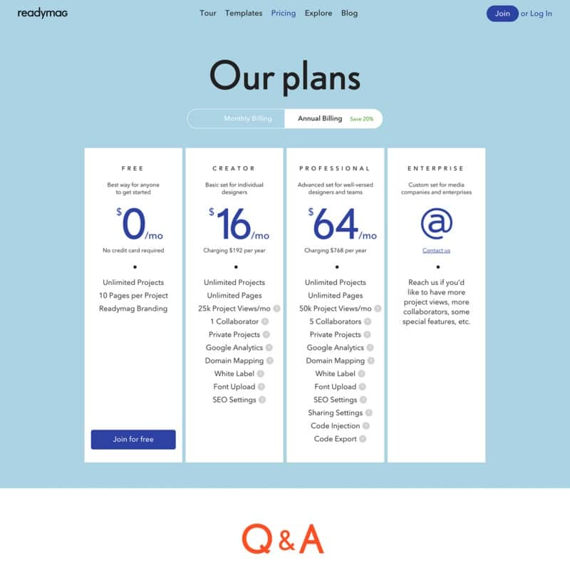 Pricing page on ReadyMag web #ui #inspiration #interface #web #design