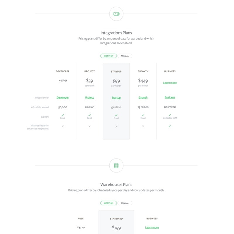 Pricing page on Segment web #ui #inspiration #interface #web #design