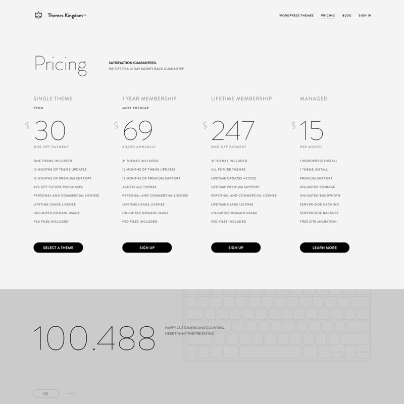 Pricing page on Theme Kingdom web #ui #inspiration #interface #web #design