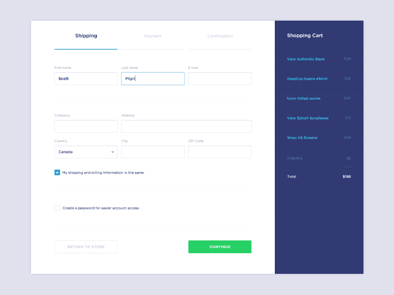 Forms for shipping by @JaromirKveton web #ui #inspiration #interface #web #design