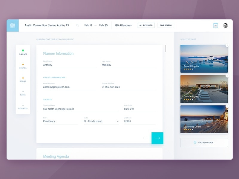 Forms for planner by @mojotech web #ui #inspiration #interface #web #design