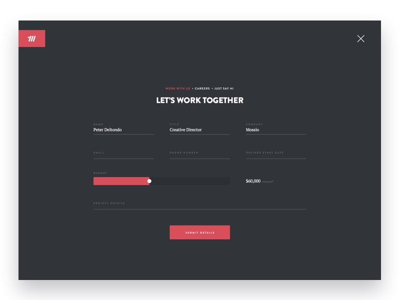 Project forms for creative work by @mossiodotco web #ui #inspiration #interface #web #design