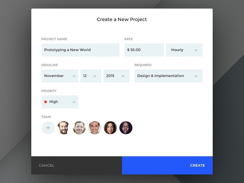 Forms for creating a new project by @NpaulFlavius web #ui #inspiration #interface #web #design