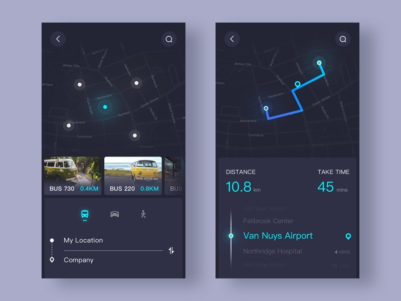 Map navigation by @ui_star #ui #inspiration #interface #ios #design #iphone All iOS Map Navigation  - UI Garage - The database of UI