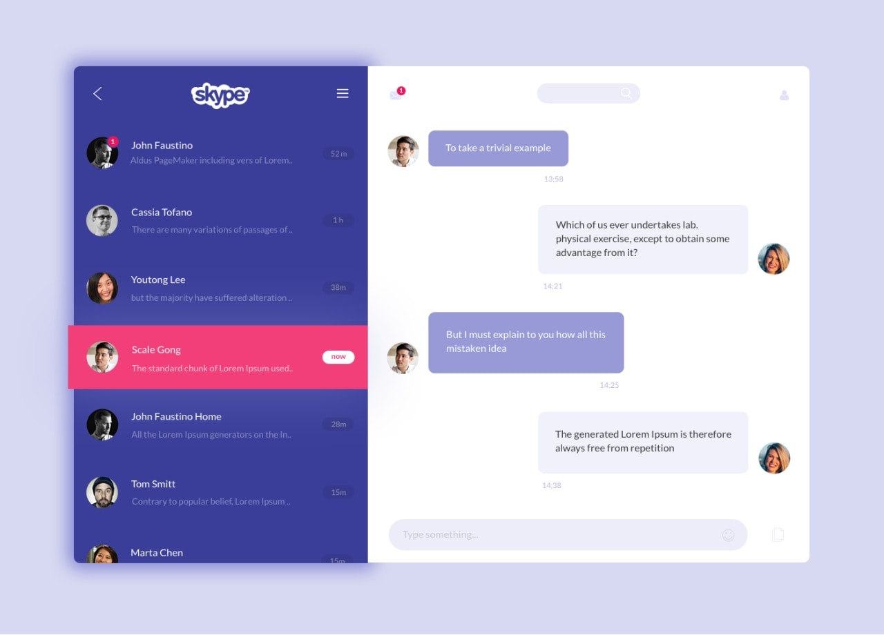 Skype Redesign on Mac #ui #inspiration #interface #web #design from UIGarage