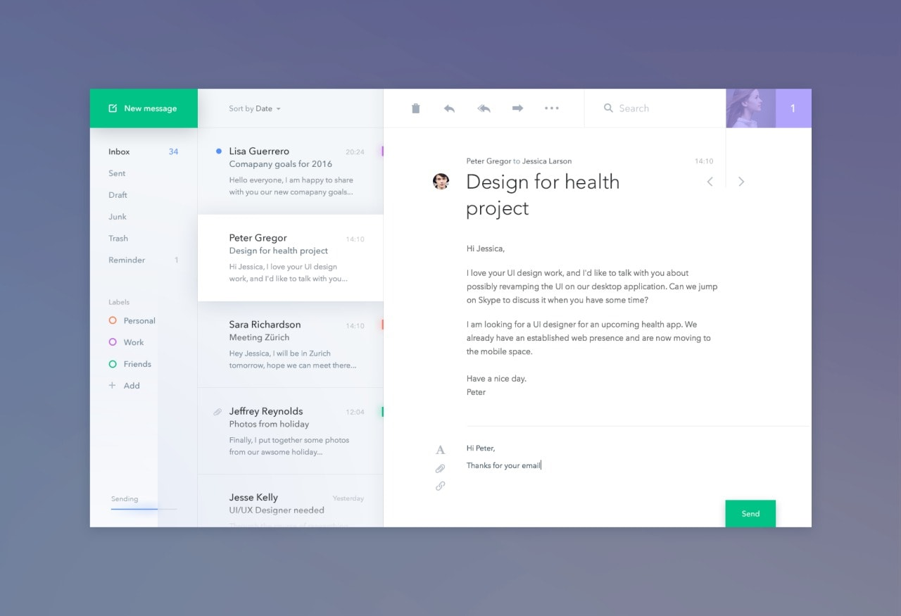 Message inspiration email by @antalik #ui #inspiration #interface #web #design from UIGarage