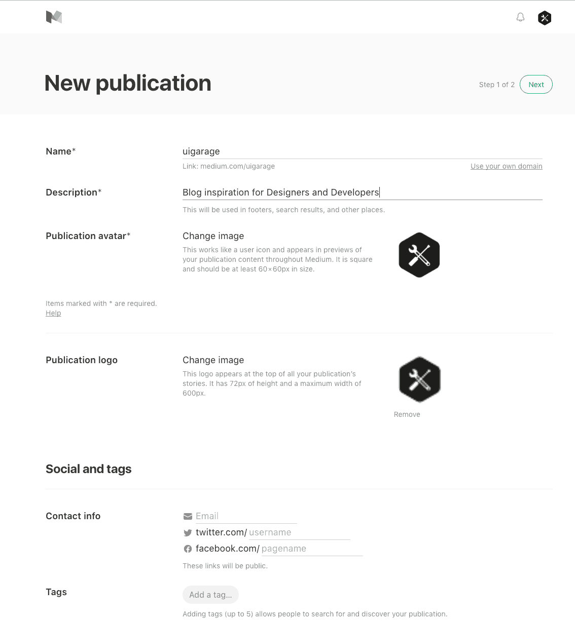 Create publication on @medium